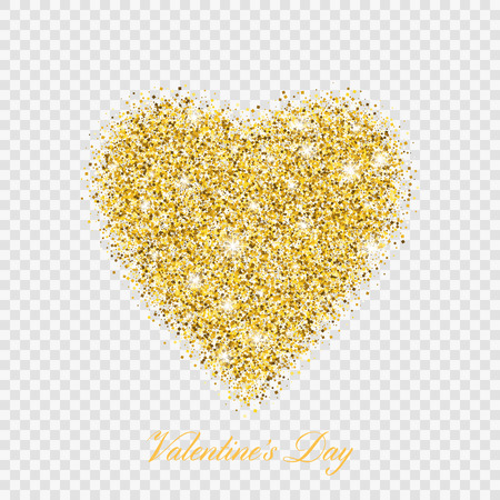 Illustration for Valentine day gold glitter shiny heart. Vector illustration love heart symbol isolated on transparent background - Royalty Free Image