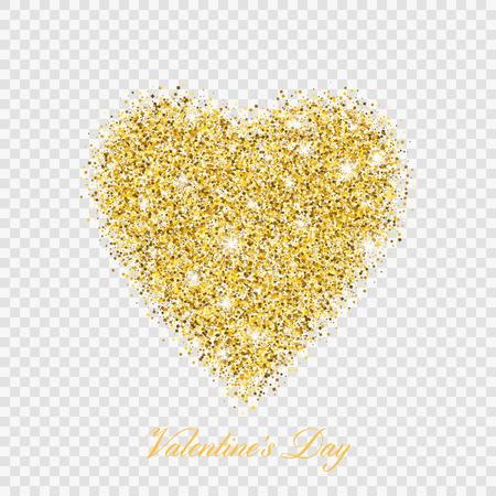 Illustration pour Valentine day gold glitter shiny heart. Vector illustration love heart symbol isolated on transparent background - image libre de droit