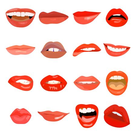 Illustration for Female lips set on sweet passion. Lip design element lust makeup mouth. Vector print cosmetic sensuality desire tongue out. Smile woman red sexy doodle lips - Royalty Free Image