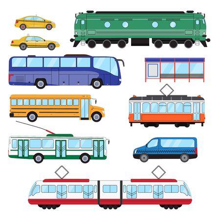 Illustration pour Urban public transport set. Collection of bus, minibus, taxi, tram, train, trolleybus, school bus in side view. Vector illustration - image libre de droit