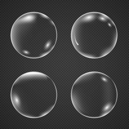 Illustration pour Realistic white air bubbles with reflection isolated on a transparent background. Champagne fizzy on black closeup. Vector illustration underwater bubble - image libre de droit