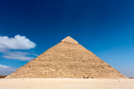 The pyramid of Khafre  in the desert sands on the outskirts of Cairo, Egypt   Since the 2011 revolution and subsequent coup tourism has dropped massively in Egypt