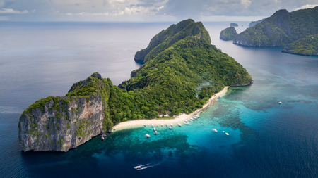 Aerial drone view of Dilumacad (Helicopter) Island in El Nido, Palawan, Philippines