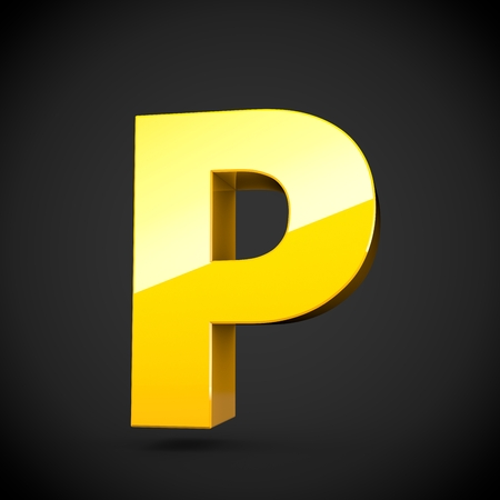 Glossy yellow paint alphabet letter P uppercase with softbox reflection. 3D rendered font. Isolated on black background.