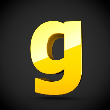 Glossy yellow paint alphabet letter G lowercase with softbox reflection. 3D rendered font. Isolated on black background.