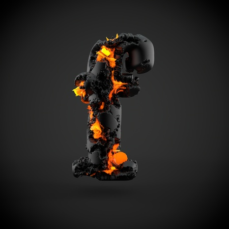 Volcanic alphabet letter F lowercase. 3D render of volcanic font with burning lava isolated on black background.