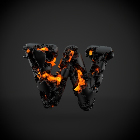 Volcanic alphabet letter W lowercase. 3D render of volcanic font with burning lava isolated on black background.