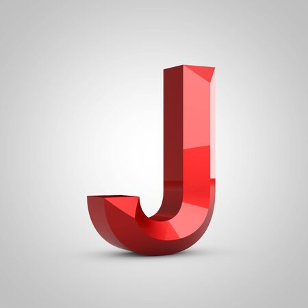 Red glossy chiseled letter J uppercase isolated on white. 3d rendered font.