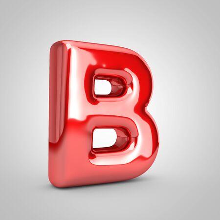 Foto de Red shiny metallic balloon letter B uppercase isolated on white background. 3D rendered illustration. - Imagen libre de derechos