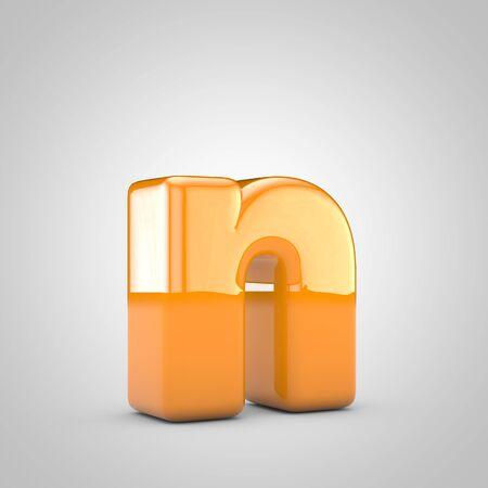 Foto de Orange 3d letter N lowercase isolated on white background. Shiny glossy font. - Imagen libre de derechos
