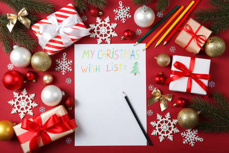 Photo pour wish list for christmas and new year and christmas decor top view - image libre de droit