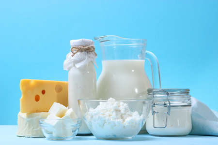 Photo for set of dairy products on the table. - Royalty Free Image