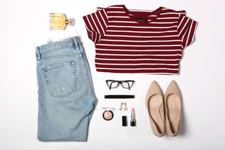 Photo pour set of fashionable womens clothing and accessories - image libre de droit