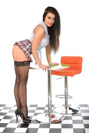 Pin Up Model Wearing Sexy Micro Mini Skirt