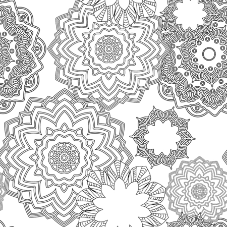 Hand drawn zentangle floral doodles  tribal style for adult coloring book. Vector illustration eps 10 for your design.