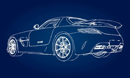 Ilustración de Sketch of a modern sports car on a blue background with a gradient - Imagen libre de derechos