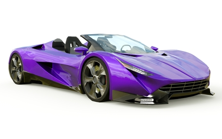 Photo pour Purple conceptual sports cabriolet for driving around the city and racing track on a white background. 3d rendering - image libre de droit
