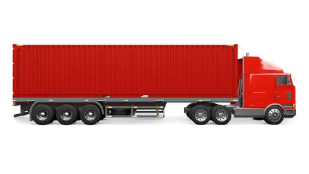 Photo for A large retro red truck with a sleeping part and an aerodynamic extension carries a trailer with a sea container. 3d rendering - Royalty Free Image