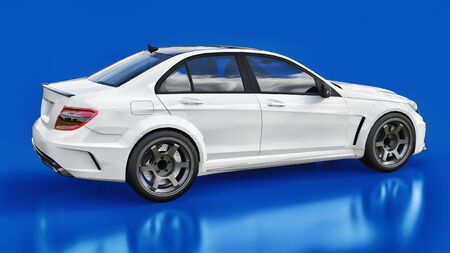 Photo pour Super fast white sports car on a blue background. Body shape sedan. Tuning is a version of an ordinary family car. 3d rendering - image libre de droit