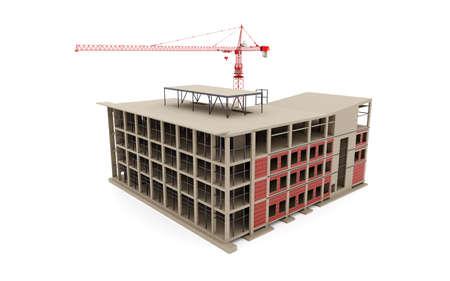 Photo pour Building under construction 3D model with a construction crane on a white background. 3d rendering. - image libre de droit