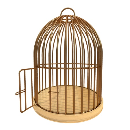 Photo for 3d golden cage with open door - Royalty Free Image