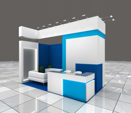 small exhibition stand design with blank banners and lighting