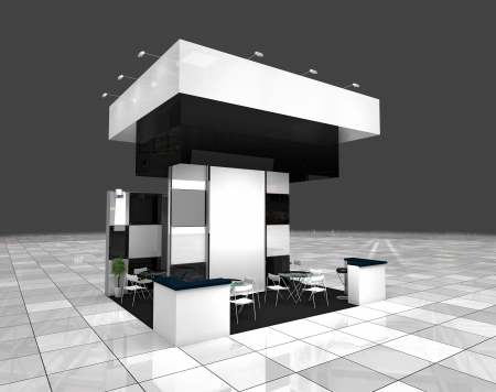 modern exhibition black and white stand design project