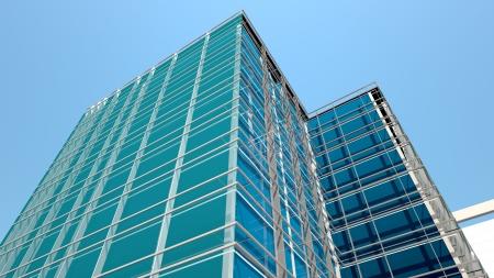 Foto de Modern office building facade, high resolution 3d render - Imagen libre de derechos