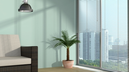 Photo pour modern interior with window and sunlight and cityscape behind  - image libre de droit