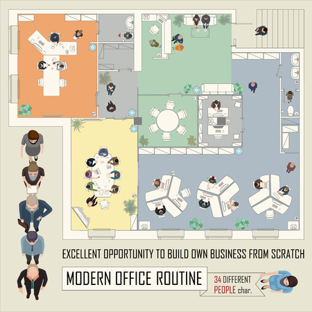 Illustration pour conceptual illustration with business people in office space - image libre de droit