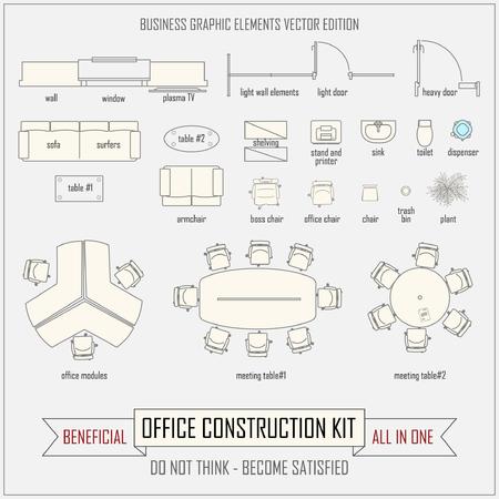 Illustration pour office design and layout vector construction kit - image libre de droit