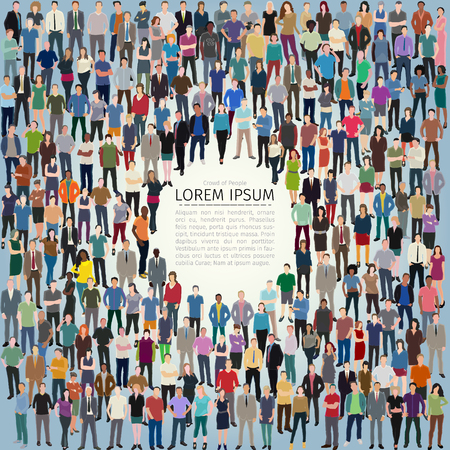 Illustration pour vector illustration with huge crowd of stylized people forming frame - image libre de droit