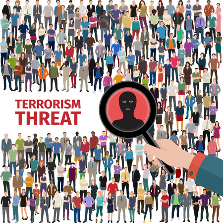 Illustration pour conceptual vector illustration at terrorism threat with crowd of people - image libre de droit