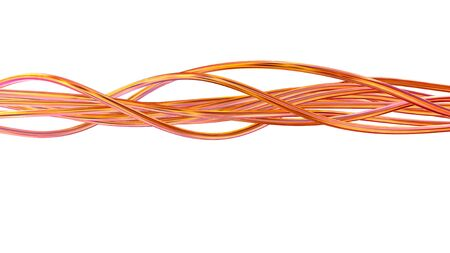 Photo pour 3D render of glossy metal wires, techology design elements isolated on white - image libre de droit
