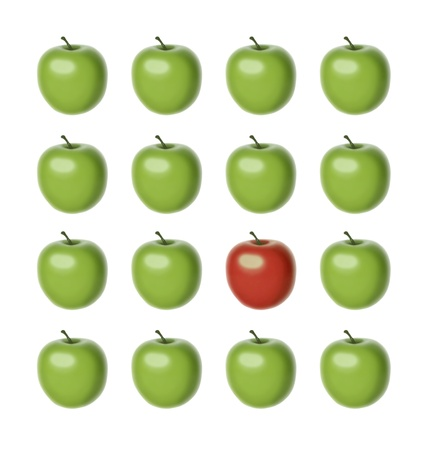 set of 16 apples of the same shape and size, 15 of which are green and just one is red