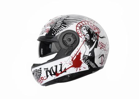 Photo pour motorcycle helmet with a street art painting on it, profile view - image libre de droit