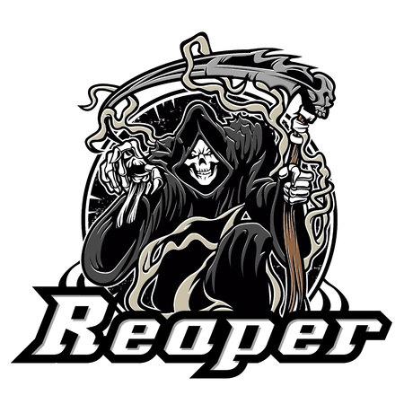Illustration pour Illustration of grim reaper on white background - image libre de droit