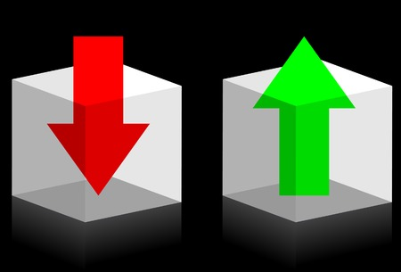 Upload and download symbols. Arrows in transparent boxes. A vector. Without mesh.