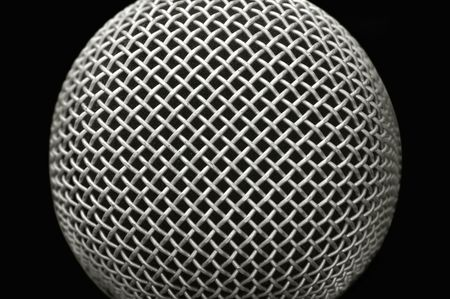 close-up studio microphone abstract on black