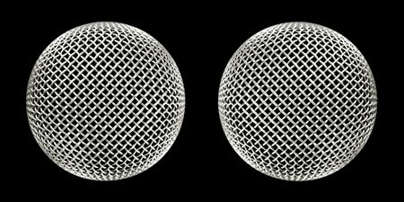twin microphones close-up on black