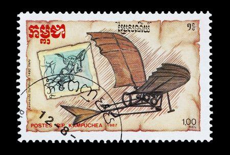 mail stamp printed in Cambodia (Kampuchea) featuring the Da Vinci glider