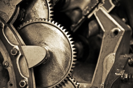 vintage machine cogwheels with shallow d.o.f