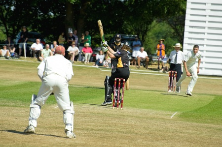 Eversley, UK - 3 June, 2011: New Zealand cricketer James Marshall batting for the Lashings World XI at a charity pro-am event in Eversley, UK