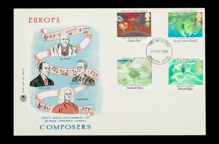 Commemorative First Day of Issue mail stamp set printed in the UK, featuring George Handel and other great classical music composers, circa 1985