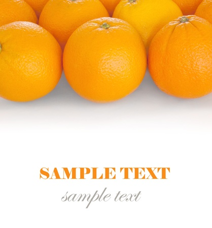 Oranges isolated on white background. With sample text.