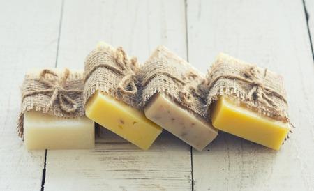 Handmade Soap closeup . Spa products .