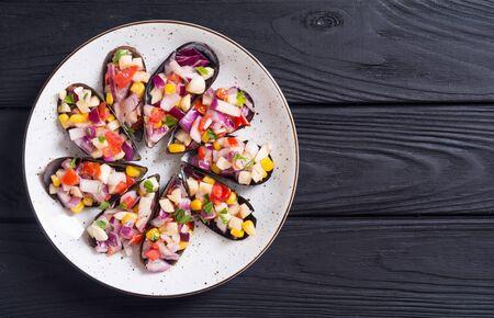 Foto de Choros a la chalaca . Traditional  Peruvian food background with mussels - Imagen libre de derechos