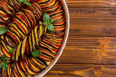 Photo pour Traditional French cooked provencal vegetable dish - Ratatouille . Food background - image libre de droit
