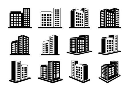 Illustration for Building icons set and perspective company vector collection on white background, Black line hotel condo and apartment illustration, Isometric graphic bank and office silhouette - Royalty Free Image