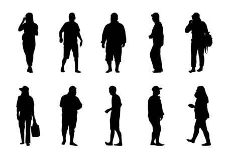 Illustration for People walking silhouette set on white background, Lifestyle man and women vector - Royalty Free Image